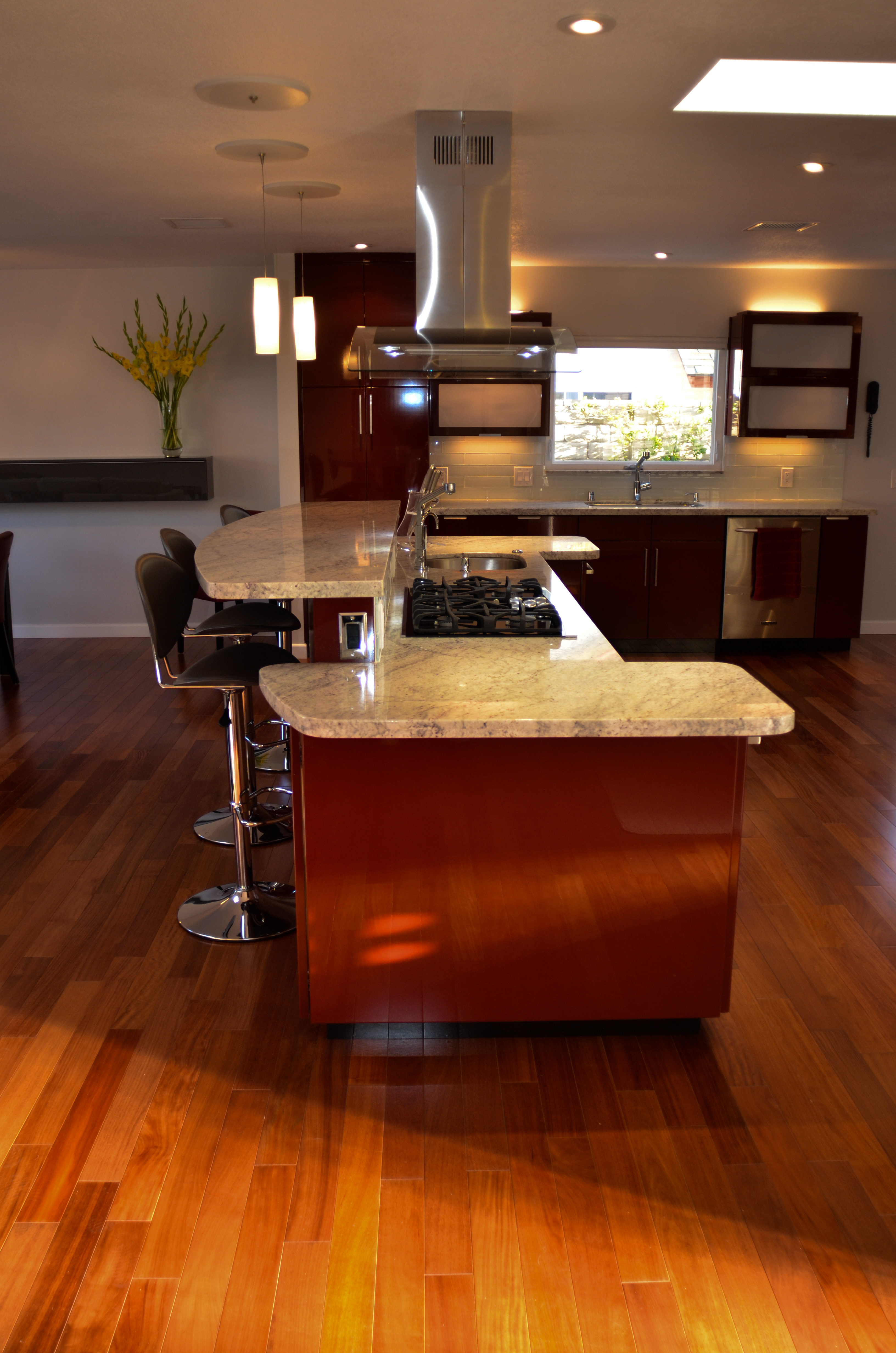 Glossy red laminate kitchen island