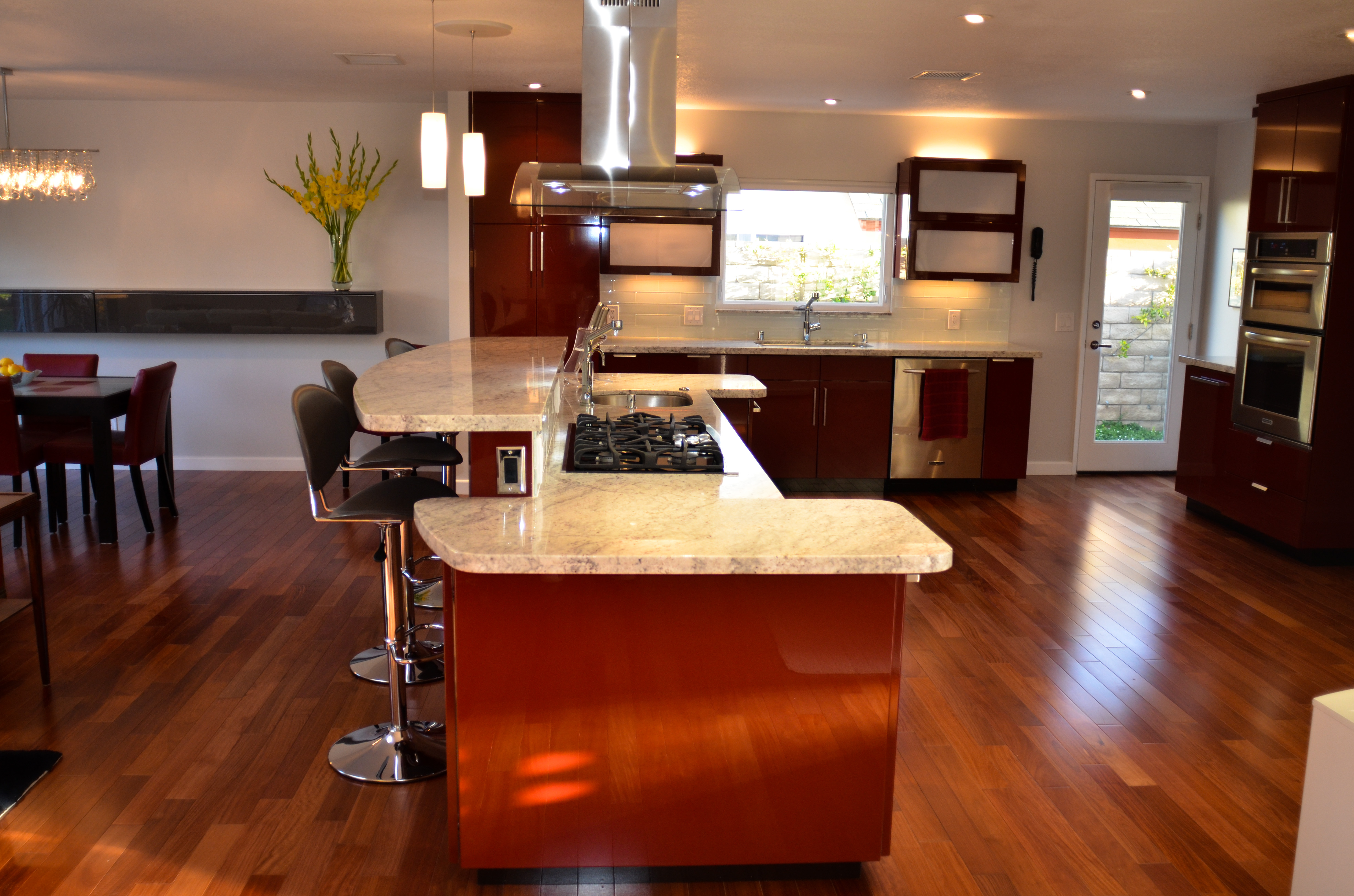 Glossy Red Laminate Custom Kitchen Remodel W L Rubottom Cabinets Co